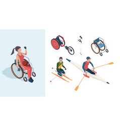 paralympic characters disabled sportsmen athletes vector image