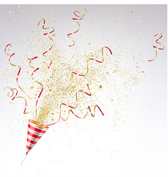party popper with confetti vector image
