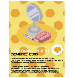 Personal hygiene color isometric poster vector