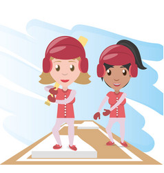Pretty woman athlete playing baseball vector