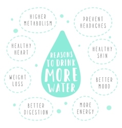Reasons to drink more water vector image