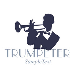 Retro style emblem of trumpeter silhouette jazz vector