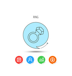 ring with diamond icon jewellery sign vector image