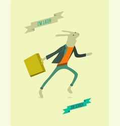running funny cartoon rabbit vector image