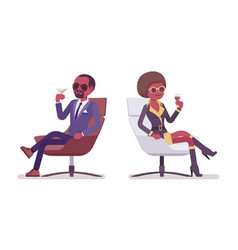 Secret agent black man and woman spies relaxing vector
