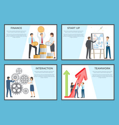 Set of cartoon style posters dedicated to business vector
