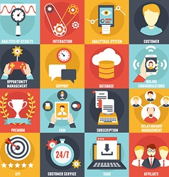 Set of Customer Relationship Management Icons vector image