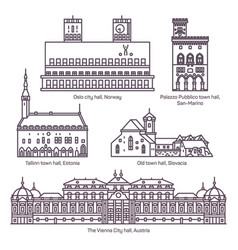set of isolated town and city hall architecture vector image