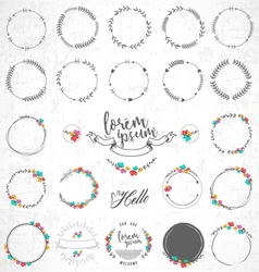 Set vintage floral badges and labels vector
