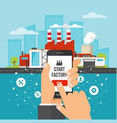smart factory engineer starts workflow in phone vector image