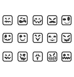 Square scary face icons set vector