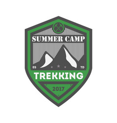 summer camp trekking vintage isolated badge vector image