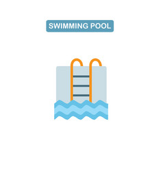 swimming pool with ladder line icon vector image