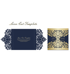 template for laser cutting envelope with floral vector image