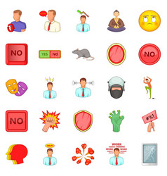 Tension icons set cartoon style vector