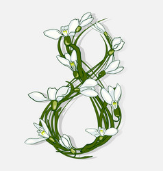 the figure 8 is made of snowdrops vector image