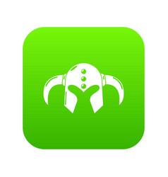viking helmet classic icon green vector image