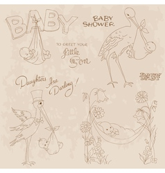 Vintage baby shower vector