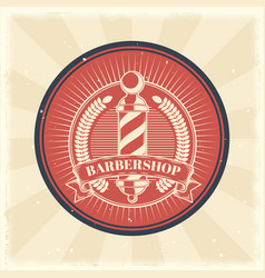 vintage badge sticker sign with barber vector image