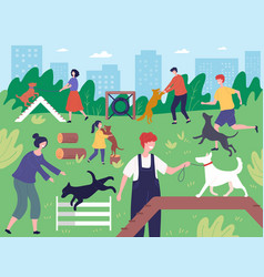walking with dogs in park people playing running vector image