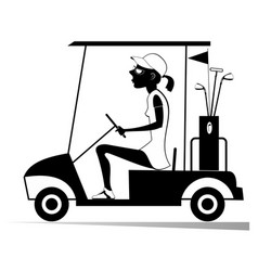 Woman in the golf cart isolated vector