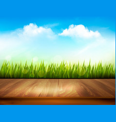 wooden deck in front of green grass and blue sky vector image