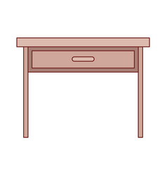 Wooden desk of one drawer in colorful silhouette vector