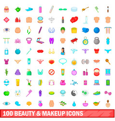 100 beauty and makeup icons set cartoon style vector