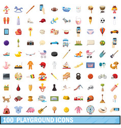 100 playground icons set cartoon style vector image vector image