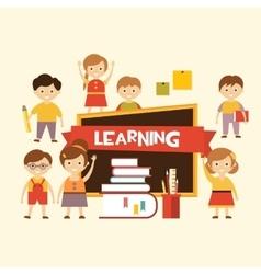 Back to school Lovely children learn vector image