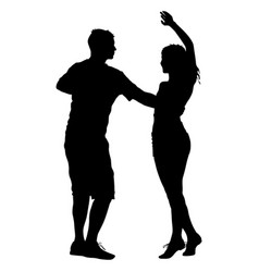 black silhouettes dancing on white background vector image vector image