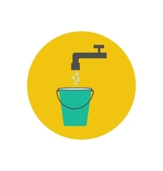 Bucket and water tap vector image