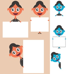 Businesswoman Behind Sign vector image vector image