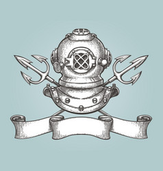 diving helmet with tridents and ribbon vector image vector image