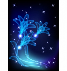 transparent flowers and stars vector image vector image