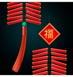Chinese New Year firecrackers ornament vector image