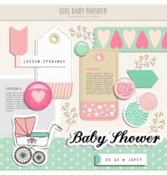 Cute set of baby shower scrapbooking elements vector image