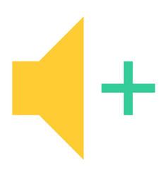 flat volume increase icon loudspeaker sign vector image
