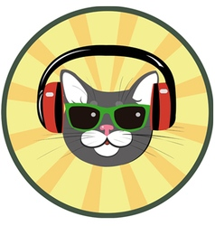 funny cat with headphones and sunglasses vector image vector image