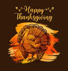 hand drawn sketch turkey natural turkey vector image vector image