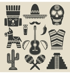 Mexico travel icons set vector image vector image