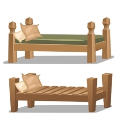 Single wooden bed Interior items in cartoon style vector image vector image
