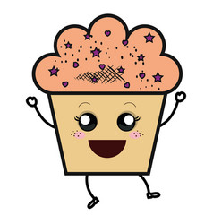 delicious and sweet cupcake kawaii character vector image