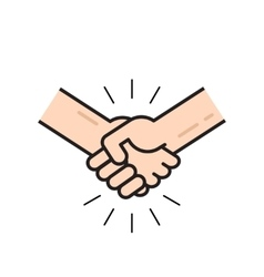 Handshake icon isolated flat outline line vector