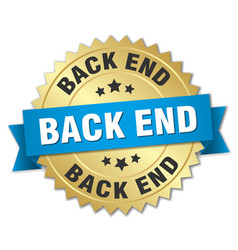 back end round isolated gold badge vector image vector image