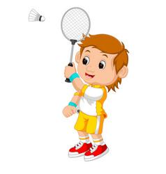 cartoon boy playing badminton vector image vector image