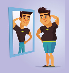 fat man character pretend to be strong man vector image