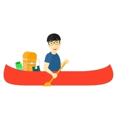 Man riding in canoe vector image