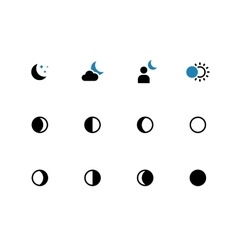 Phases of the moon duotone icons on white vector image