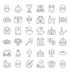 set of easter spring and egg hunt icon thin line vector image